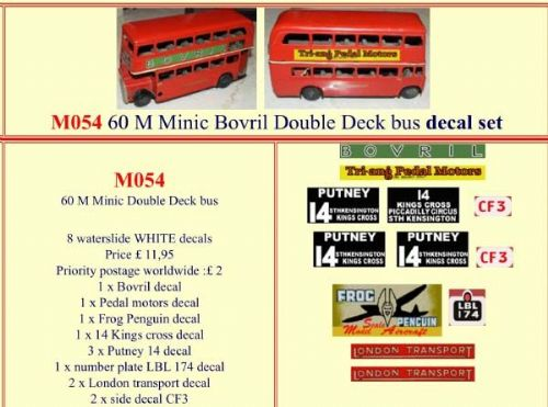 "M054 Tri-ang ( Triang ) Minic 60M "" BOVRIL "" Double Decker bus decal set"